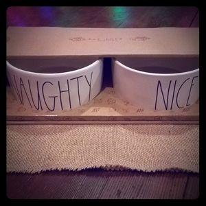 Rae Dunn Naughty Nice pet bowls